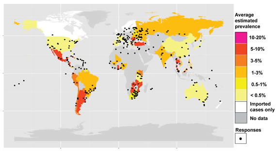 Map with estimated CTVT prevalence in different countries. CTVT prevalence was estimated via responses to a survey; locations of survey respondents are indicated with black dots. For more information see Strakova and Murchison BMC Veterinary Research Sept